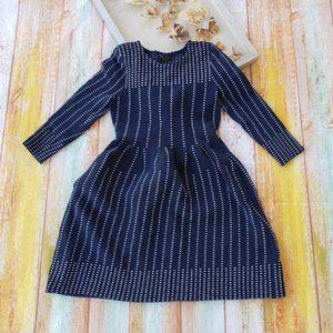 Maje Romuald Navy Blue Long Sleeve A-Line Dress M